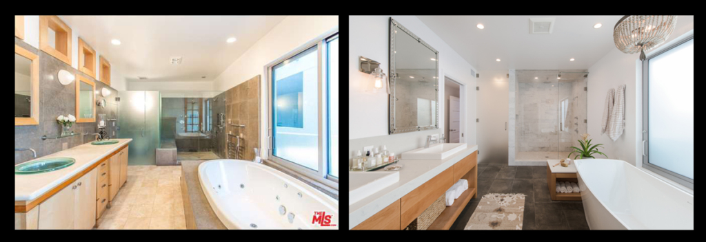 Before and After of Master Bath renovation in Ocean Front Walk