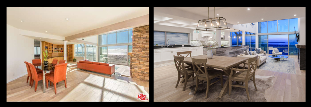 Before and After of Main Living Space in Ocean Front Walk