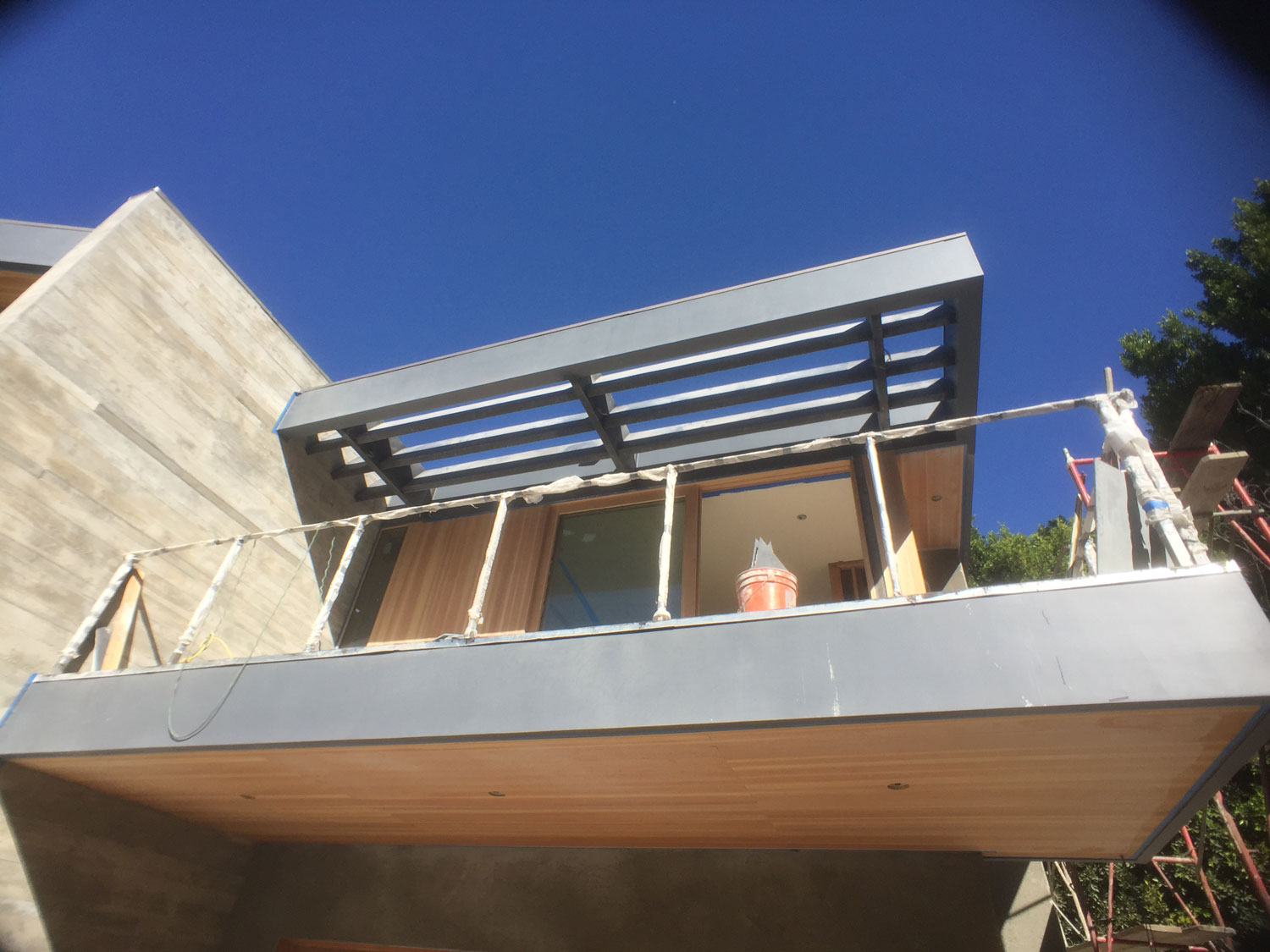 Custom fabricated steel shade trellis in Benedict Canyon, CA