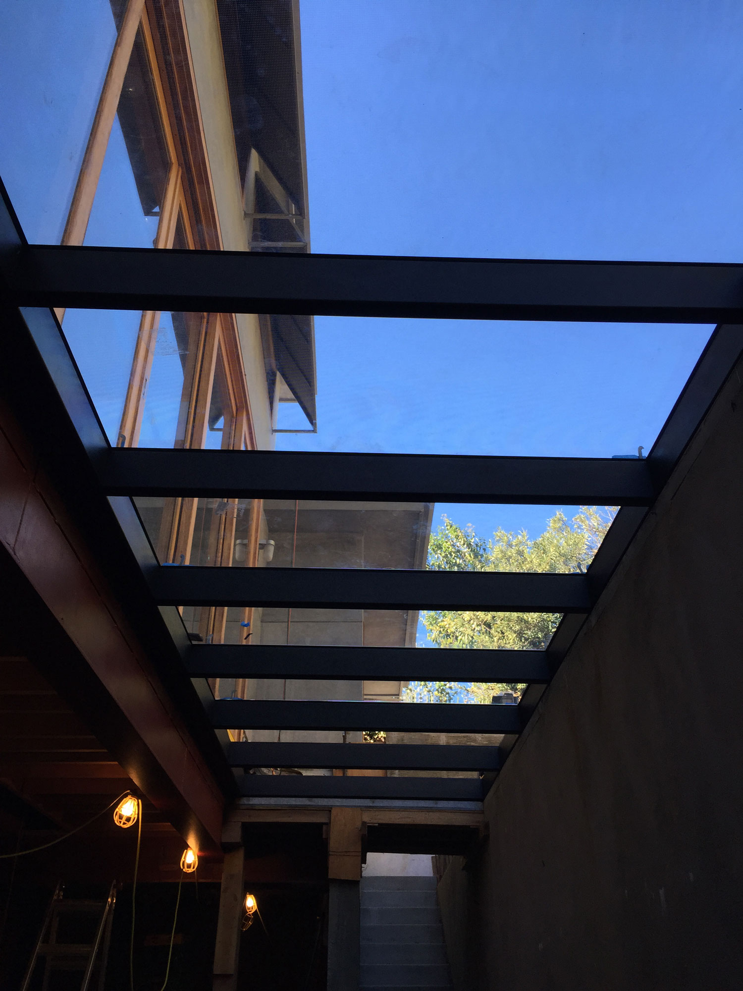 Basement Skylight in West Los Angles shown with egress stairs