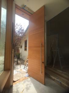 Interior view of pivoting front door