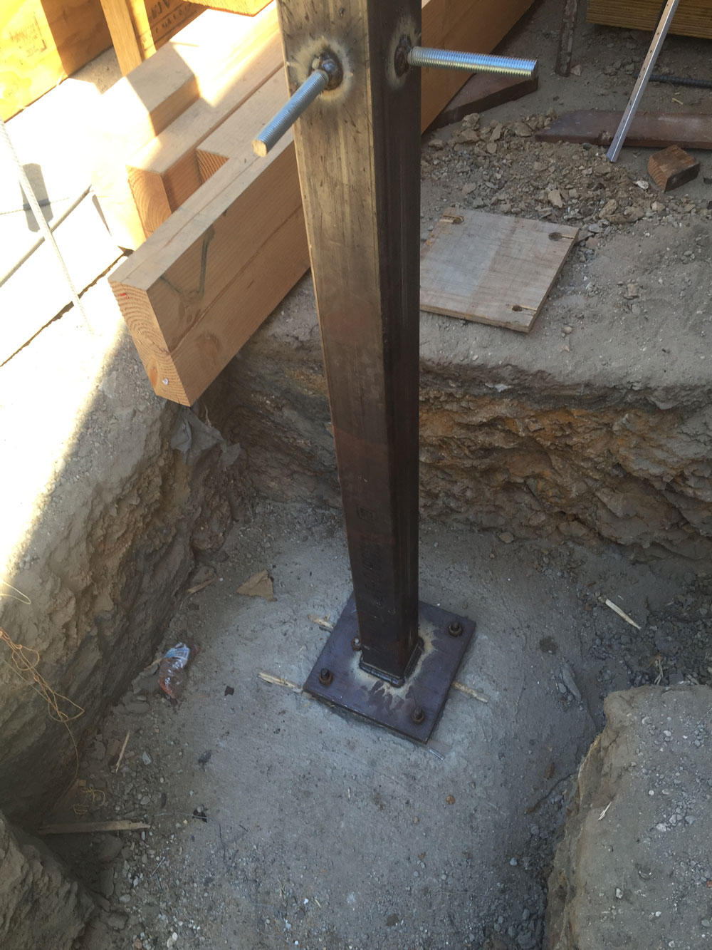 Steel footing for foundation work in Benedict Canyon