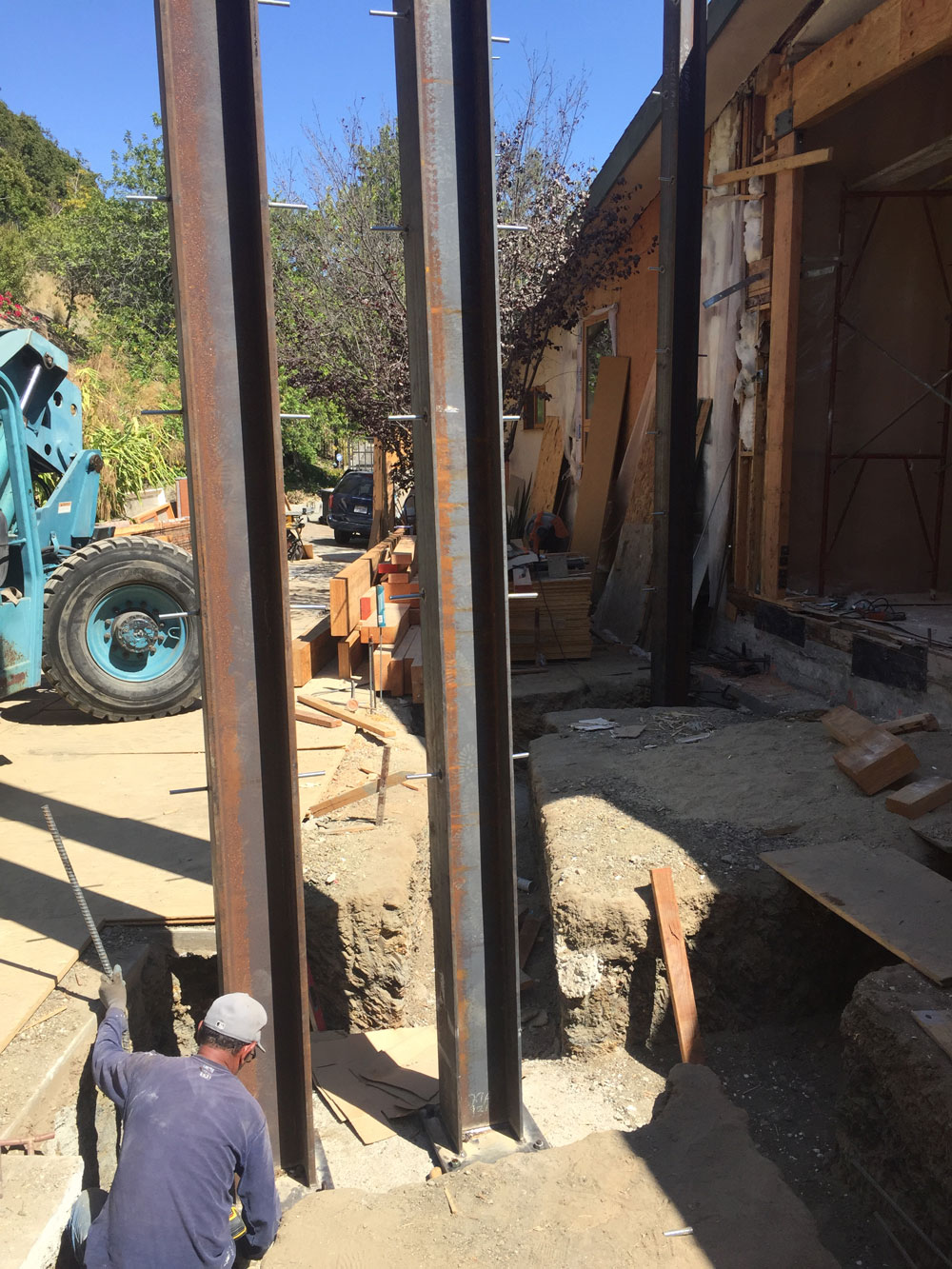 Steel support beams used in foundation work in Benedict Canyon